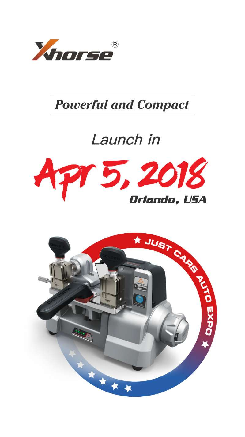 Condor XC-009 key cutting machine will launch in April 5, 2018 Orlando, USA - Just Cars Auto Expo.   Condor XC-009 key cutting machine is designed to cut the single-sided key & double-sided key. It weights only 10KG(22LB), which is very easy to take.  Attach several images:  Condor-xc-009 condor-xc-009-key-cutting-machine-02 condor-xc-009-key-cutting-machine-01 Condor-xc-009-03 Condor-xc-009-02   Now, do you have a good impression on Condor XC-009 key cutting machine? More details will be updated......   Condor XC-009 will be available in the middle or the end of May, 2018.  If you have great interest in Condor XC-009, please contact:  Email: Sales@UOBDII.com   Skype uobd2net@live.com   Whatsapp: +86-13995696053